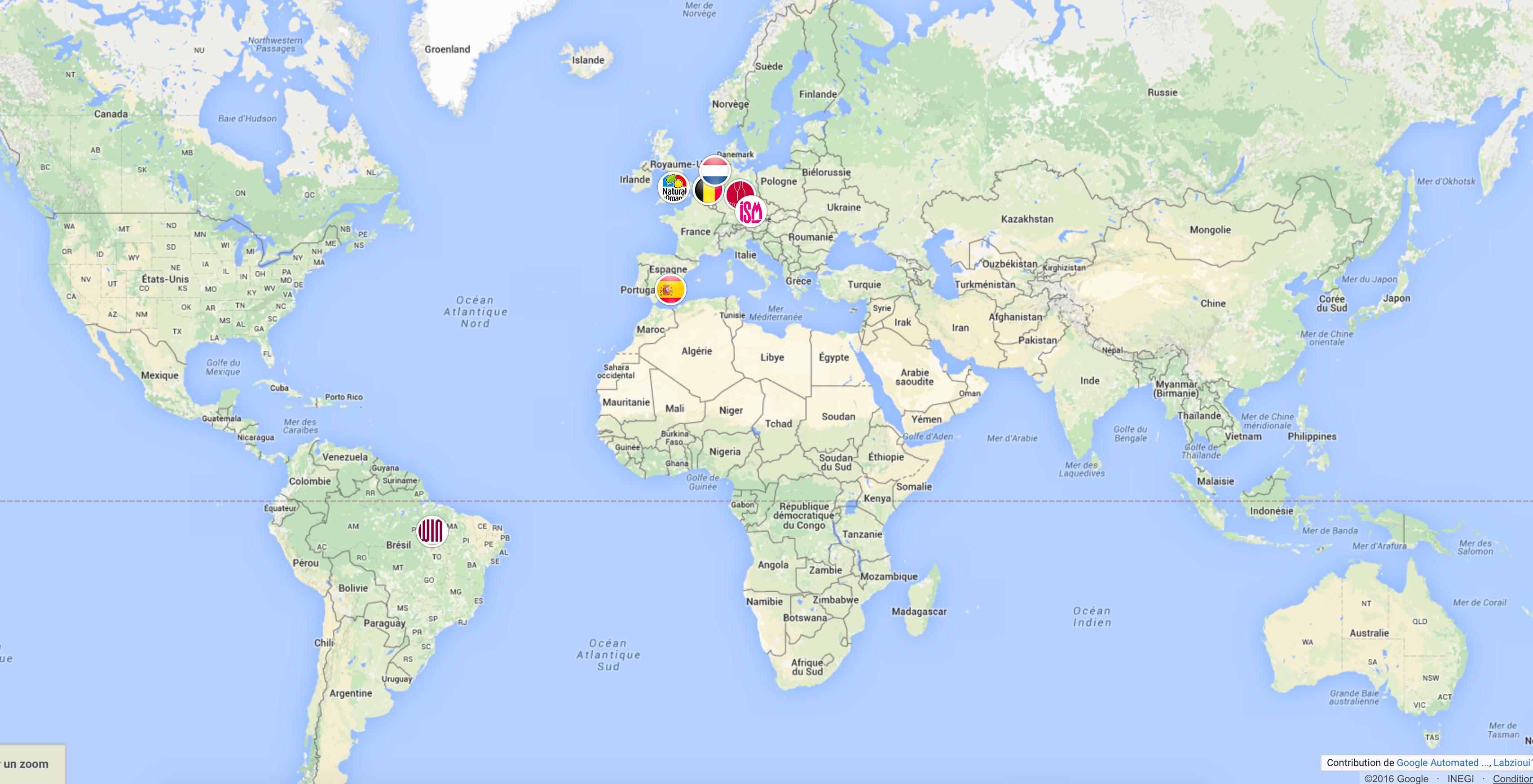 carte des exportations et ventes à l'étranger